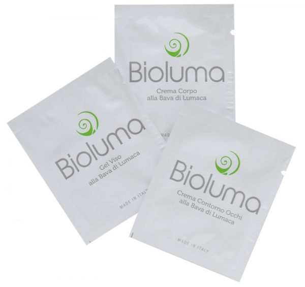 bioluma campione omaggio tester bava lumaca set viso corpo